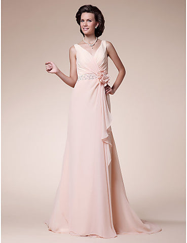 A-line V-neck Sweep/Brush Train Chiffon Mother of the Bride Dress