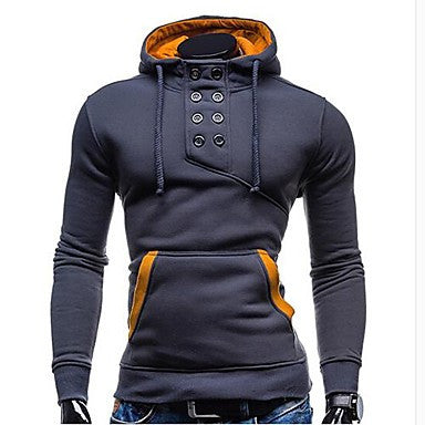Men's Slim Solid Color Hooded Sweatshirt