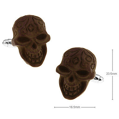Men's Brown Skull Cufflinks(2 PCS)