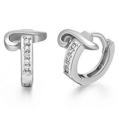 "Gifr for Boyfriend High Quality Silver Plated Letter ""T"" Men's Stud Earrings(1 pr)"