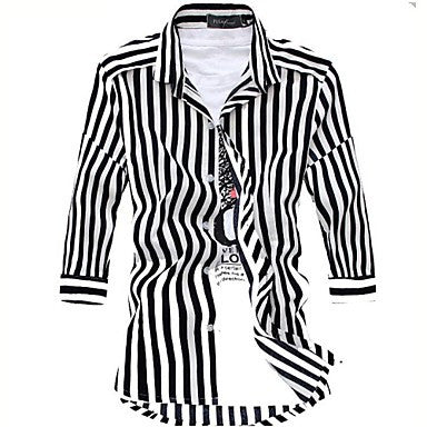 Men's Casual Fashion Striped Seven Sleeved Shirt