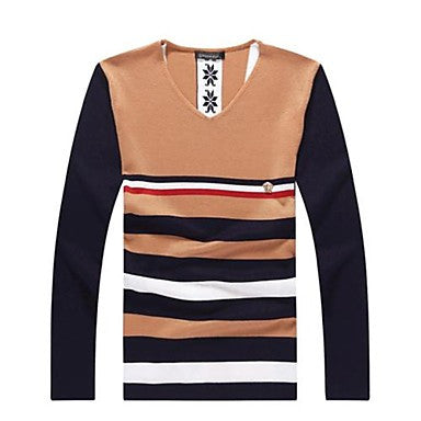 Men's V Neck Casual Slim Stripe Knit Sweater(More Colors)
