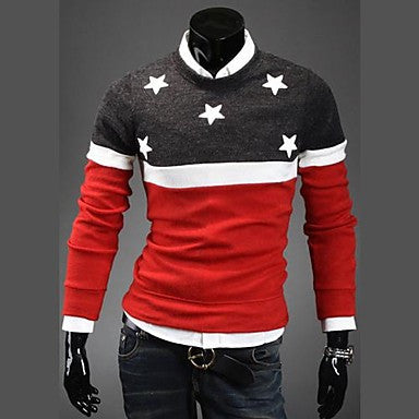 Men's Fashion Round Collar Pentagram Embroidered Sweater