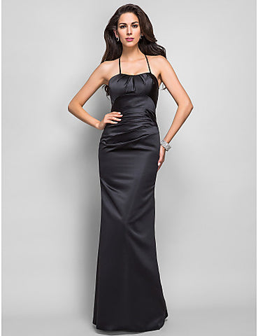 Trumpet/Mermaid Spaghetti Straps Floor-length Side Draping Satin Evening Dress