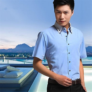 Men's Fashion Summer Light Blue White Lilac Double Collar Short Sleeve Shirt