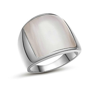 18K White Gold Plated Opal Stone Finger Ring for Man