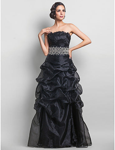 A-line Strapless Organza Floor-length Evening/Prom Dress