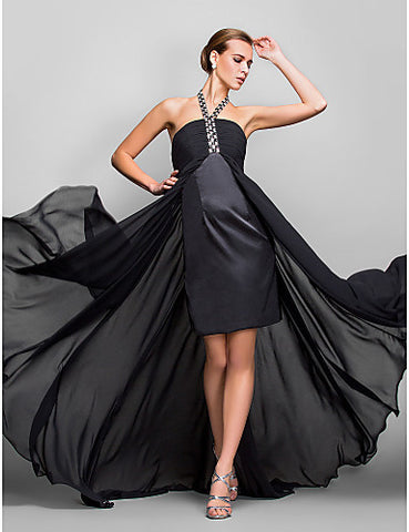 A-line Halter Asymmetrical Georgette Evening Dress