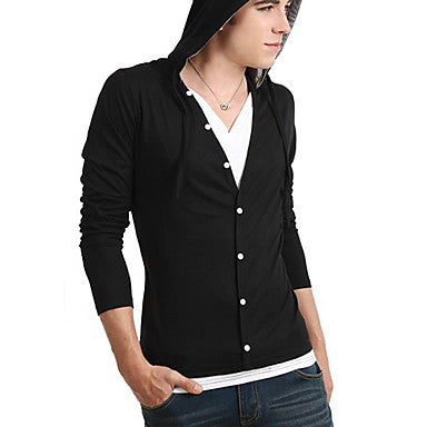 Men's Spring Fashionable Button Slim Long Sleeve With Hat T-Shirt