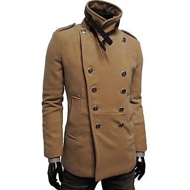Men's Fashion Double-Breasted Wool Coat
