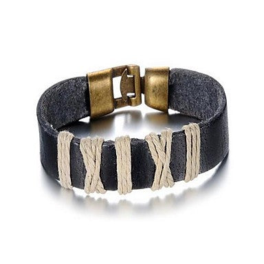 Fashion Men's Black Leather Bracelet(1 Pc)
