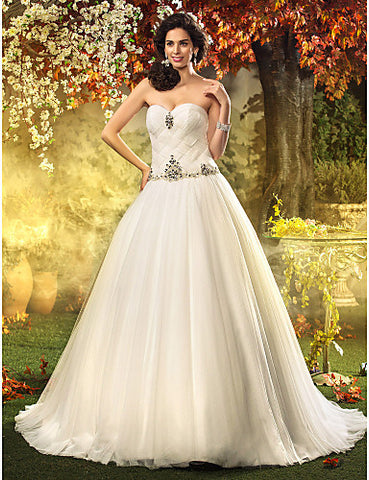 A-line Princess Sweetheart Sweep/Brush Train Tulle Wedding Dress(604622)