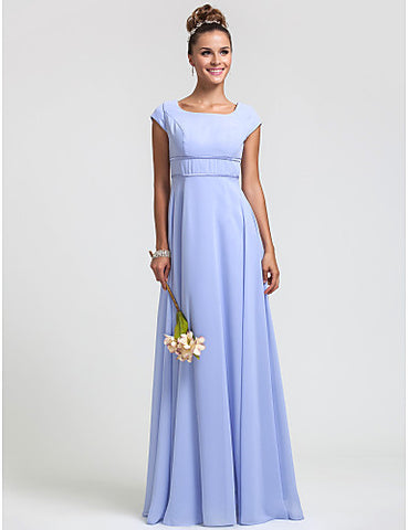 Bridesmaid Dress Floor Length Chiffon Sheath Column Square Dress
