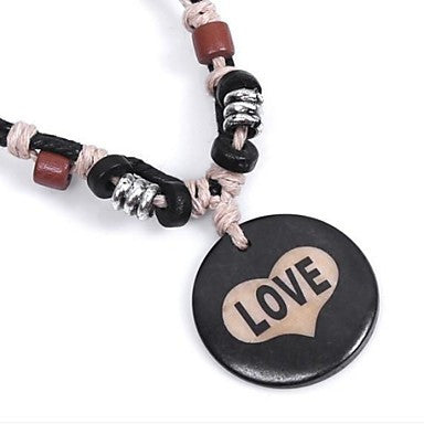 Vintage Love (Ox Bone Pendant) Black Fabric Pendant Necklace(1 Pc)