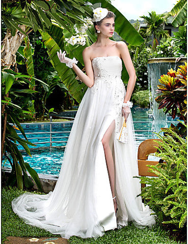 A-line Strapless Court Train Tulle Wedding Dress (699559)