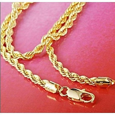 24K Gold Filled Rope Chain For Men's Necklace 4Mm,23.6 Inches (60Cm) 32g