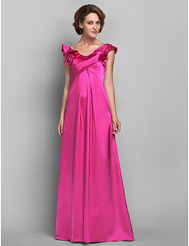 Sheath/Column Off-the-shoulder Floor-length Satin And Chiffon Mother of the Bride Dress