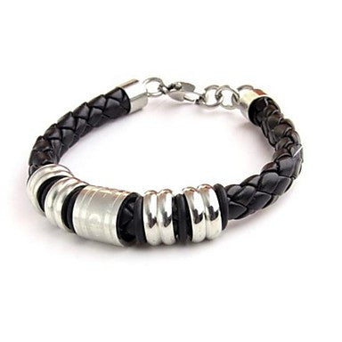Men's Fashion Personality Titanium Steel Leather Woven Symbol Bracelets