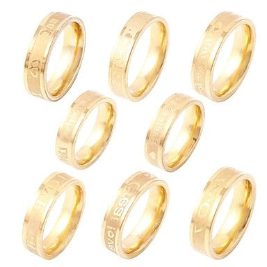 English Letters Engraved Ring(Random Delivery)