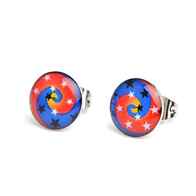 Fashion Spiral Stars Stainless Steel Stud Earrings