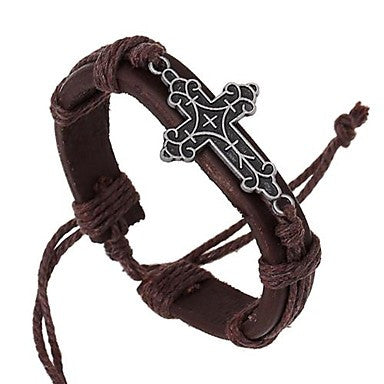 European Style Retro Woven Alloy Cross Leather Bracelet
