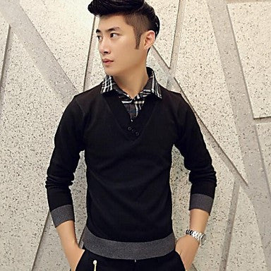 Men's false two shirt collar sweater