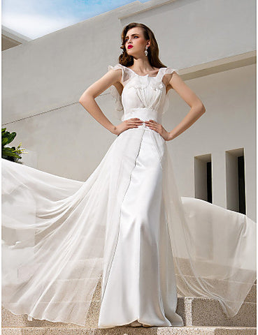 A-line Spaghetti Straps Sweep/Brush Train Chiffon Wedding Dress(722138)