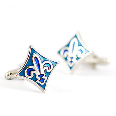 Stylish French Rhombus Silver Silver Plated Men's Cufflinks(Blue,1 Pair)
