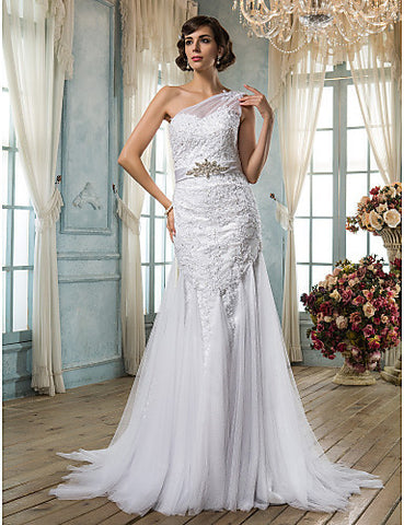 Trumpet/Mermaid One Shoulder Tulle Wedding Dress