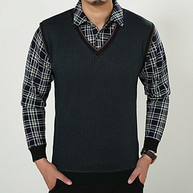 Men's Knitted Vest with Microvillus Warm Shirts