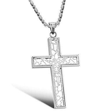 Titanium 316L Stainless Steel Jesus Resurrection Cross Pendant Necklace Silver With Gift Box