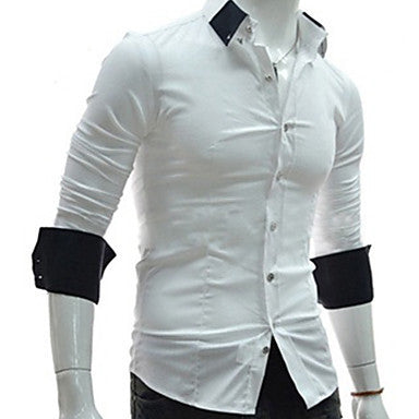Men's Korean Contrast Color Long Sleeve Casual Shirts