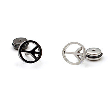 Fashion (Peace Sign Shape) Multicolor Titanium Steel Stud Earrings(Black,Silver) (1 Pc)