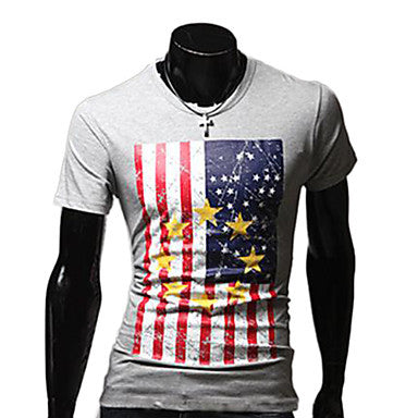 Men's Round Collar U S Flag Printing Short Sleeve T shirt