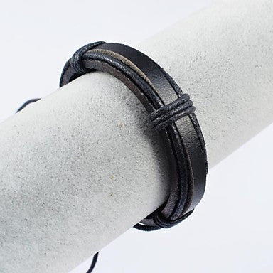 Punk Men's Black Leather Bracelets