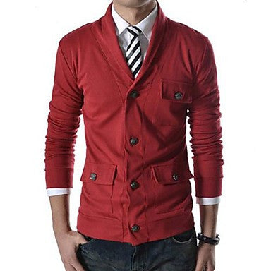 Men's Turn-Down Collar More Buckles Decorated Casual Long Sleeved Small Coat