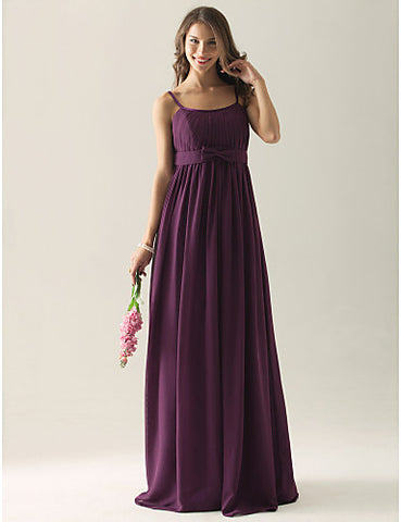 Empire Sheath/Column Spaghetti Straps Floor-length Chiffon Bridesmaid/ Wedding Party Dress