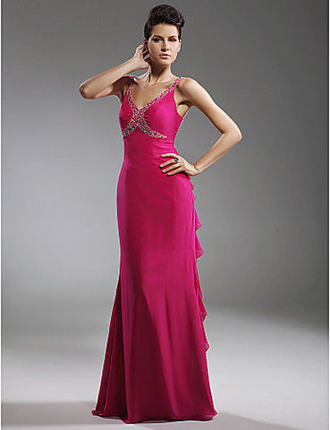 Sheath/Column V-neck Floor-length Chiffon Stretch Satin Evening/Prom Dress