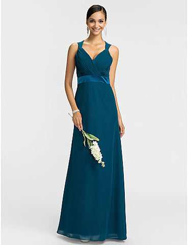 Bridesmaid Dress Floor Length Chiffon Sheath Column V Neck Dress