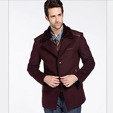 Men Fashion Fall Winter Wool Thicken Warm Business Causal Outwear