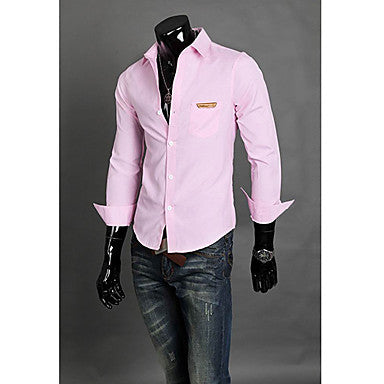 Men's Work Solid Color Long Sleeve Shirt