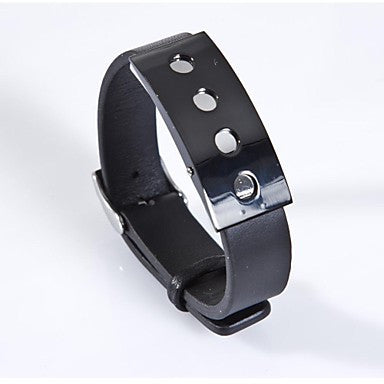 Fashion Men's Brown/Black Foramen Rotundum 316L Stainless Steel Leather Bracelet