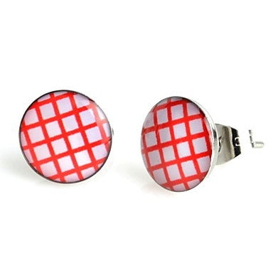 Fashion Red Plaid Stainless Steel Stud Earrings