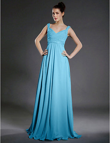 Bridesmaid Dress Floor Length Chiffon A Line V Neck Dress