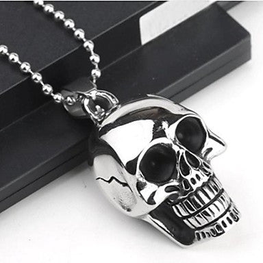 Men¡¯s Fashion Personality Skull Titanium Steel Black Drip Pendant Necklaces