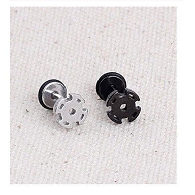 Fashion pinwheel itanium Steel Stud Earrings(Black,Silver) (1 Pc)