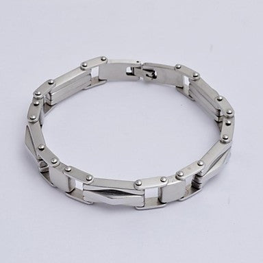 Fashion 22cm Men's Geometric Shape Silver Stainless Steel Tennis Bracelet