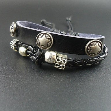 2015 New Fashion Little Star Charms Men Genuine Leather Bracelet