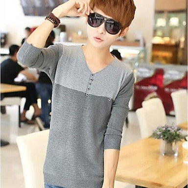 Men's Tide Sets Cotton V-neck Leisure Thin Sweater Cardigans