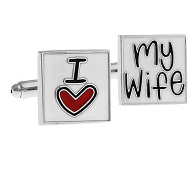 Men's I LOVE MY Wife Square Cufflinks(2 PCS)